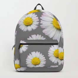 WHITE SHASTA DAISY FLOWERS  DECORATIVE GREY ART Backpack
