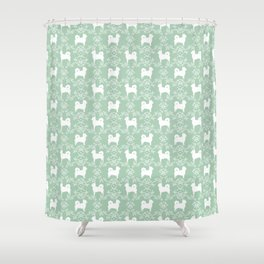 Chihuahua long haired mint and white floral silhouette pattern dog breed art Shower Curtain