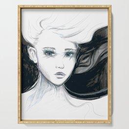 Girl Artwork | Black & White Serving Tray