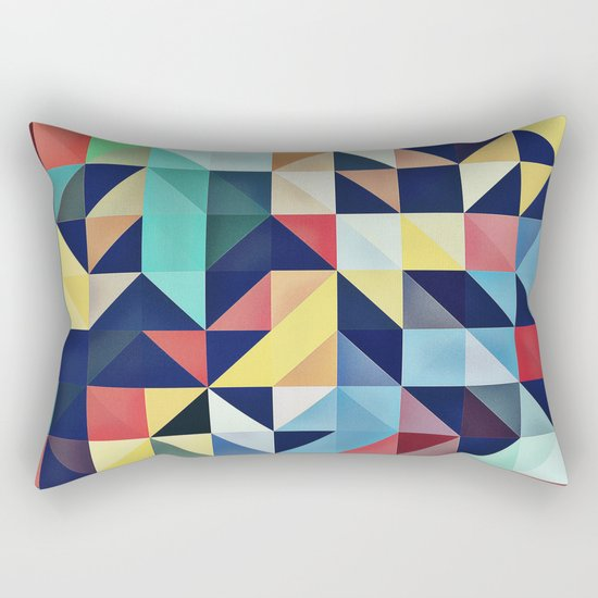 Modern Colorful Retro Geometric Triangle Pattern Rectangular Pillow