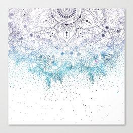 Elegant floral mandala and confetti image Canvas Print