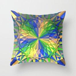 Green/Yellow/Blue 3-D Mandala Throw Pillow
