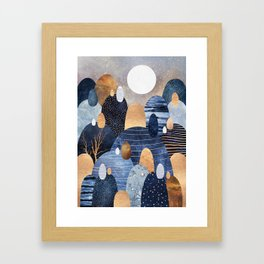 Little Land Of Pebbles - Blue Framed Art Print