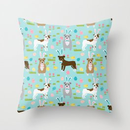 Pitbull easter dog breed pet patter rescue dog pibble lovers spring easter eggs Throw Pillow