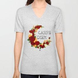 Crescent Bloom | Red roses and oranges Unisex V-Neck
