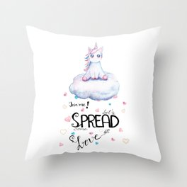 Blue Unicorn Sitting on Cloud Throw Pillow
