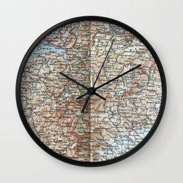 Where Italy, France & Switzerland meet, 1900 map Wall Clock