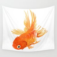goldfish Wall Tapestries featuring Goldfish by Ty Foley