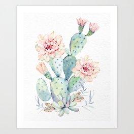 Prettiest Cactus Rose Watercolor by Nature Magick Art Print