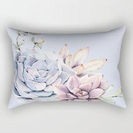 Pristine Blue Succulents Rectangular Pillow