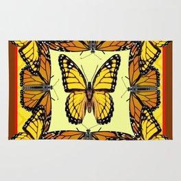 ORIGINAL DESIGN  ABSTRACT OF YELLOW & ORANGE MONARCH BUTTERFLIES BROWN ART Rug