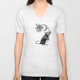 Rat with flower #2 Unisex V-Neck