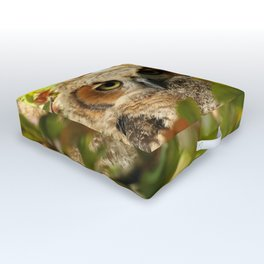 Baby owl in spring blossoms Outdoor Floor Cushion