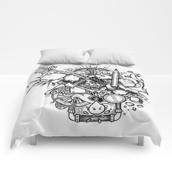 Doodle (Black version) Comforters