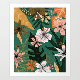 retro style floral on green Art Print