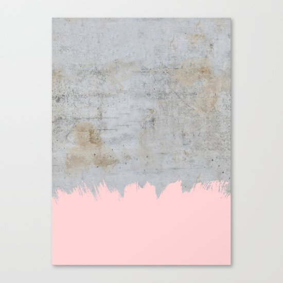 Paint with pink on concrete Canvas Print