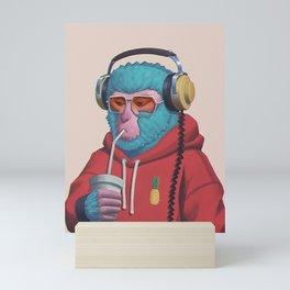 retro monkey Mini Art Print