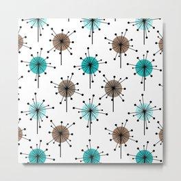 Midcentury Sputnik Starburst Flowers Turquoise Brown Metal Print