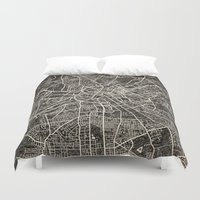 manchester Duvet Covers featuring manchester map ink lines by Les petites illustrations