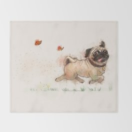 The Furminator pug watercolor like art Throw Blanket