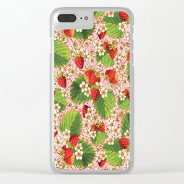Pink Paisley Strawberries Clear iPhone Case