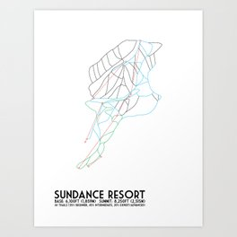 Sundance Mountain Resort, UT - Minimalist Winter Trail Art Art Print