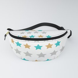 Lights christmas tree cyan Fanny Pack