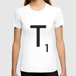 Letter T - Custom Scrabble Letter Tile Art - Scrabble T Initial T-shirt