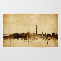 washington dc Area & Throw Rugs featuring Washington DC Skyline by artPause