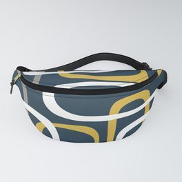 Mid Century Modern Loops Pattern in Light Mustard Yellow, Navy Blue, Gray, and White Fanny Pack