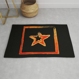 Fire star in red and blue color on a black background. Rug