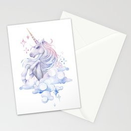 Watercolor unicorn in the sky Stationery Cards