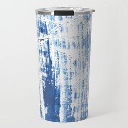 Steel blue streaked watercolor pattern Travel Mug