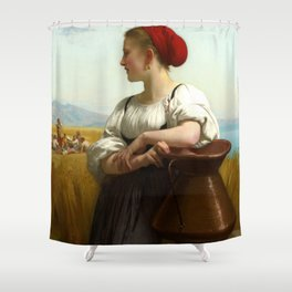 "William-Adolphe Bouguereau ""Moissonneuse (The Harvester)"" Shower Curtain"