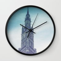 castle in the sky Wall Clocks featuring castle by Emily Lynn