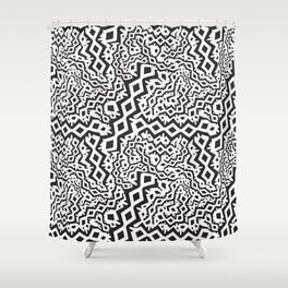 Monochrome Seamless Animal Style Pattern. Vector Background Shower Curtain