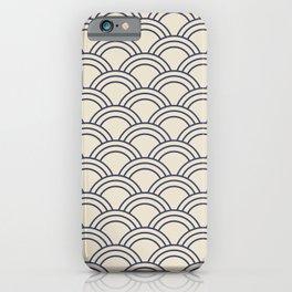 Cream & Blue Japanese Seigaiha Wave iPhone Case