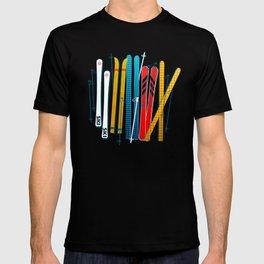 Colorful Ski Illustration and Pattern no 2 T-shirt