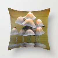mushrooms Throw Pillows featuring Mushrooms by Shalisa Photography