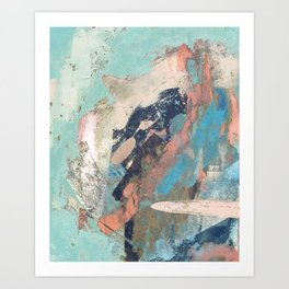 Cotton Candy: a colorful abstract mixed media piece in pastel green, pink, blue, and white Art Print