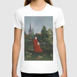 Fine french art, Portrait of a Woman in a Landscape by Henri Rousseau T-shirt