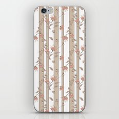 Retro . Floral pattern on a beige striped background . iPhone & iPod Skin