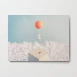 Chair with Balloon flying away Metal Print