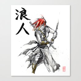 Samurai Girl Red Haired Ronin with calligraphy Canvas Print