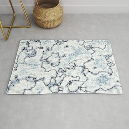 Metallic Blue and White Marbled Texture Rug
