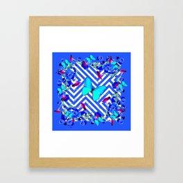Geometric  Blue Butterflies &  Purple Morning Glories Framed Art Print