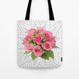 Pink Rose Silver Mandala Tote Bag