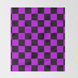 Black and Purple Checkerboard Pattern Throw Blanket