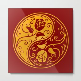 Yellow and Red Yin Yang Roses Metal Print