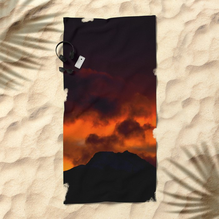 Fire Red Sunrise Beach Towel